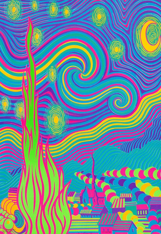 Psychedelic Wallpapers Posters Cards Postcards Blacklight Poster Starry Nights By M Collier Hippie Art Starry Night Art