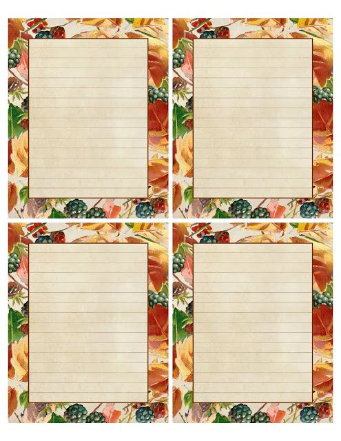 blackberries autumn leaves printable with 4 lined notes rh pinterest com