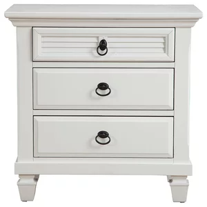 Pine Wood 3 Drawer Nightstand In White Beach Style Nightstands And Bedside Tables By Ami Ventures Inc In 2020 Alpine Furniture Nightstand 3 Drawer Nightstand