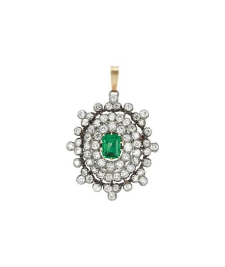 PHILLIPS : NY060115, , A Diamond and Emerald Brooch-Pendant