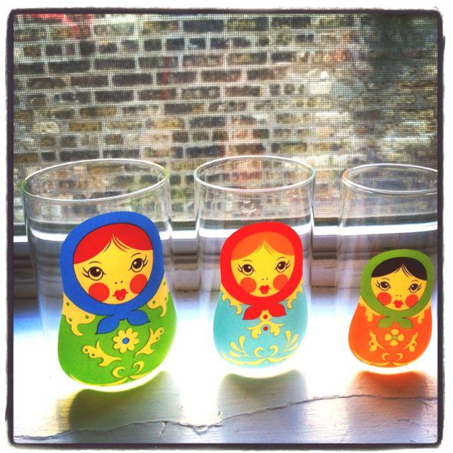 Babushkups: a trio if nestling glasses.
