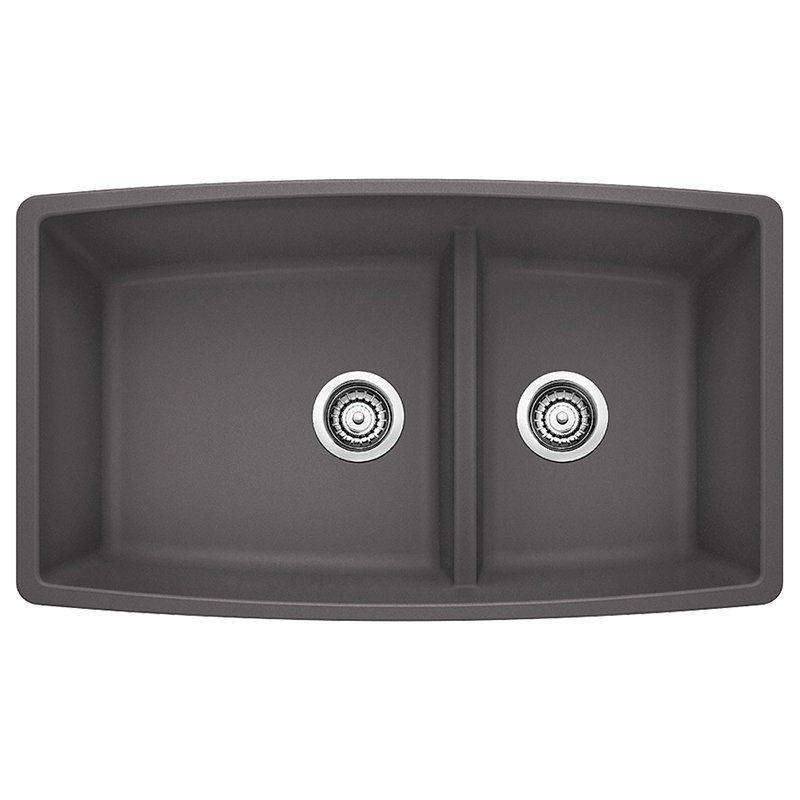 Blanco Performa 33 In Double Basin Undermount Kitchen Sink Cinder 441474 Newkitchensinkide Undermount Kitchen Sinks Double Bowl Kitchen Sink Kitchen Sink