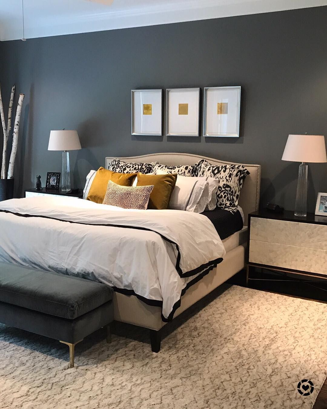 Gray and beige master bedroom My clientu0027s