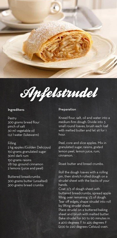 Apfelstrudel breakfast dessert pinterest german food and austrian food apfelstrudel forumfinder Image collections