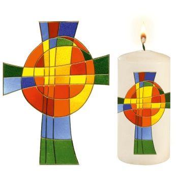 Kerze Mit Regenbogen Kreuz Osterkerze Kerzen Und Kerzen Basteln