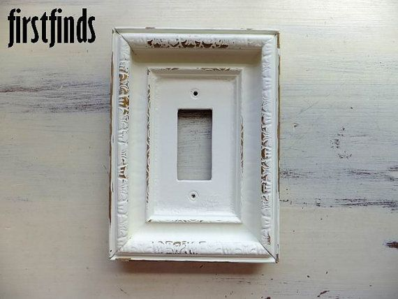 GFI Light Switch Plate Electrical Outlet Cover Shabby Chic Off White Large  Framed Single Rocker Painted