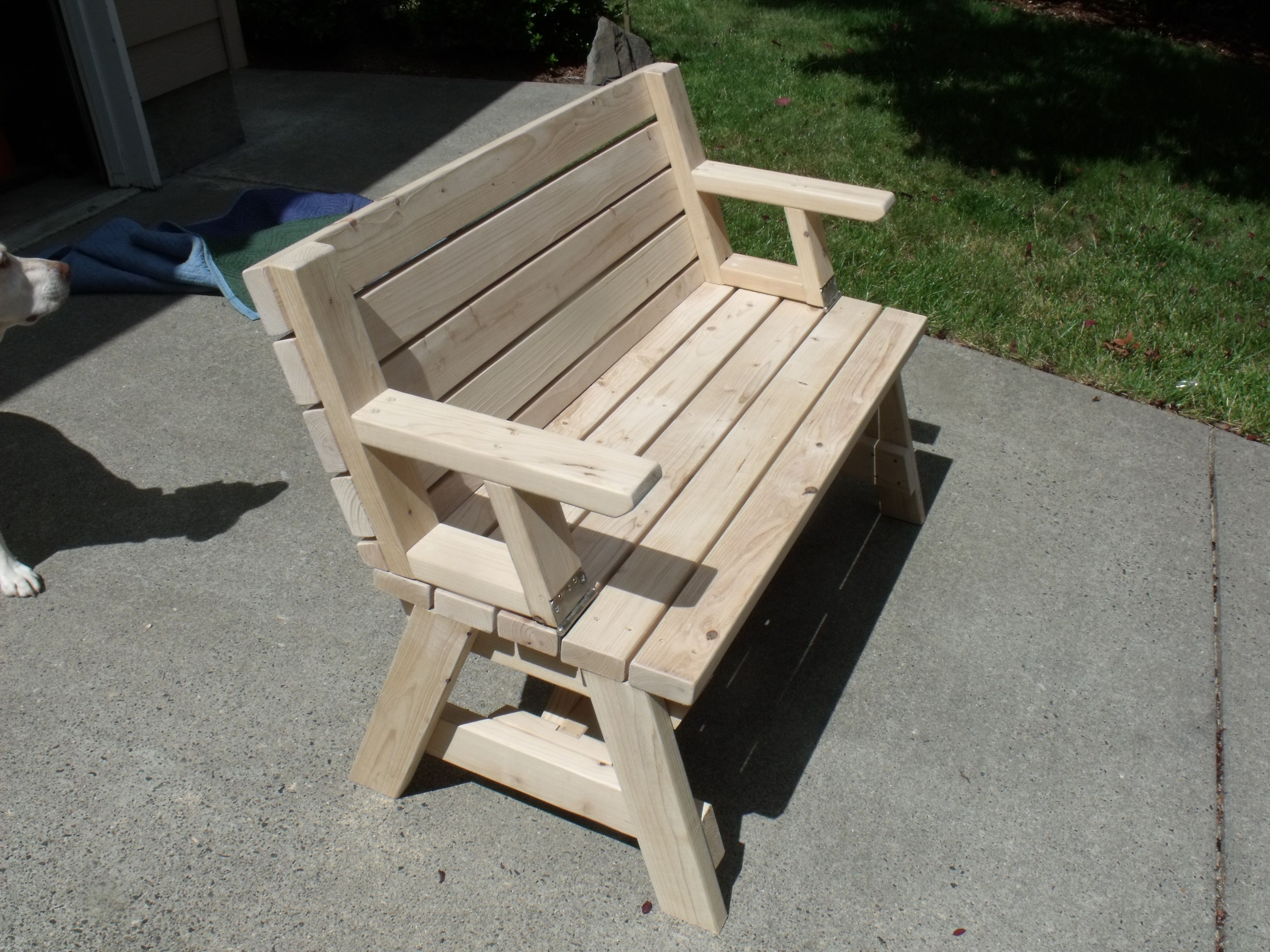 park bench with flip over back making a picnic table woodworking