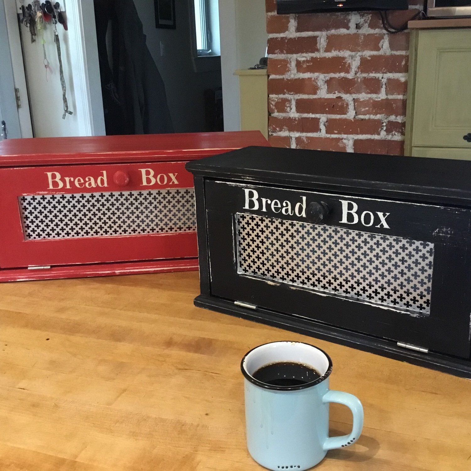 Wood Bread Box , Distressed Finish , Farmhouse Style Red