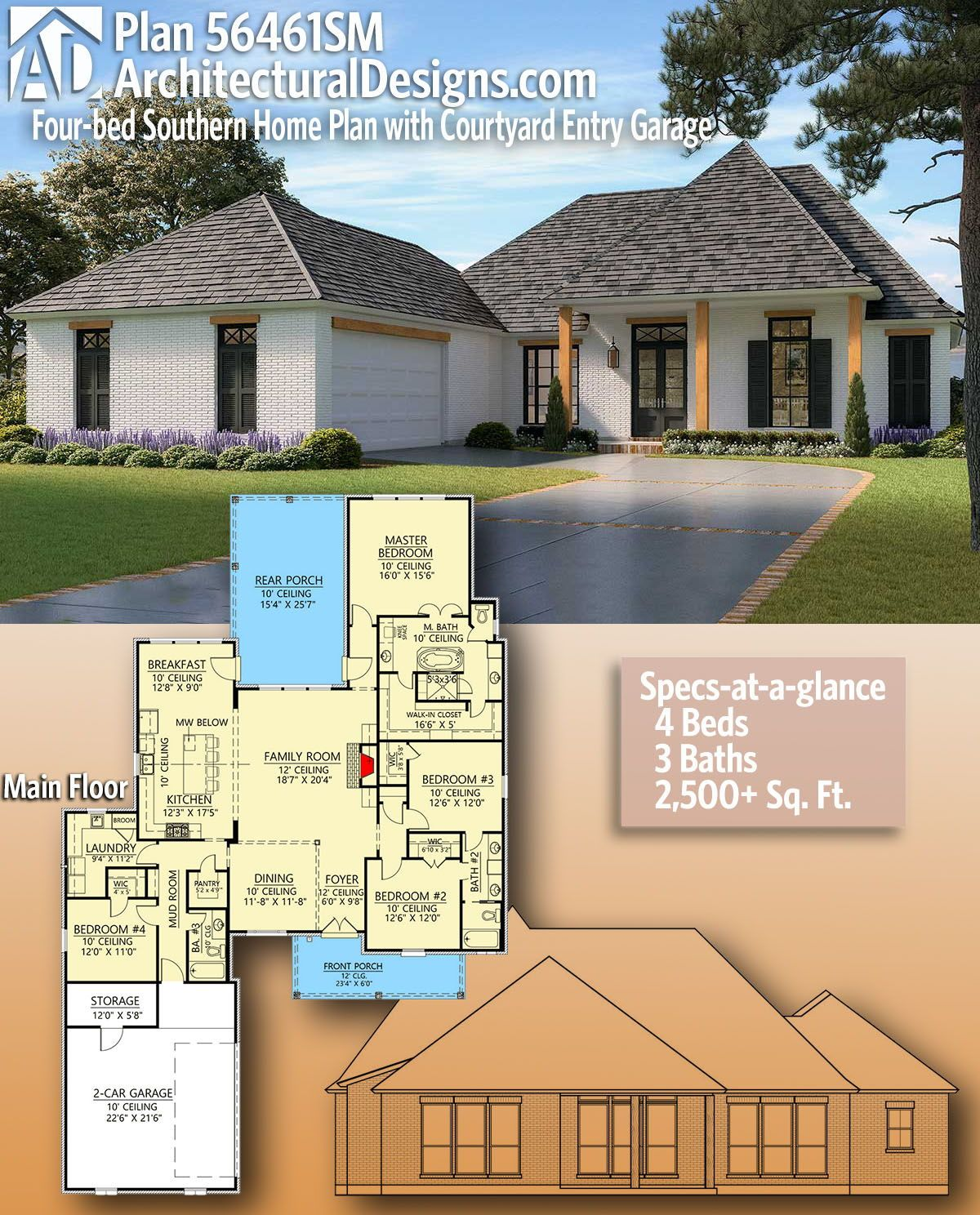 Plan 56461sm 4 Bed Southern Home Plan With Courtyard Entry Garage Southern House Plans French Country House Plans House Plans