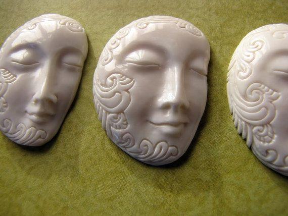 Decorative Balinese Face Carved Bone Pendant by Indounik on Etsy