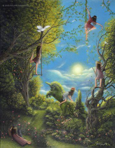 """Children Of The Sun"" Original Painting By Evocatist Artist Painter Philippe A. Fernandez. – Philippe Fernandez fine art gallery."