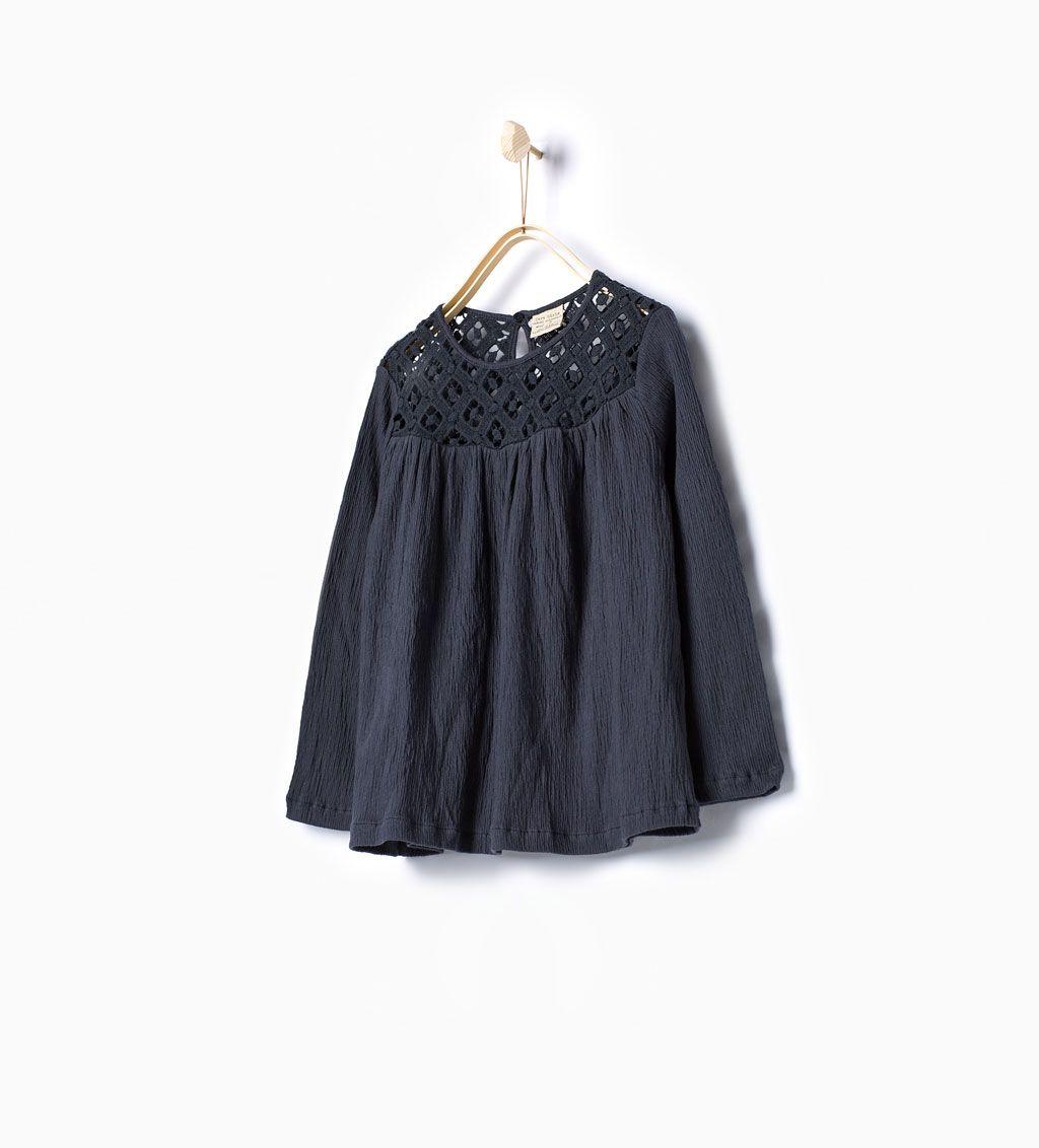 Afbeelding 1 van Wijde crochet blouse van Zara