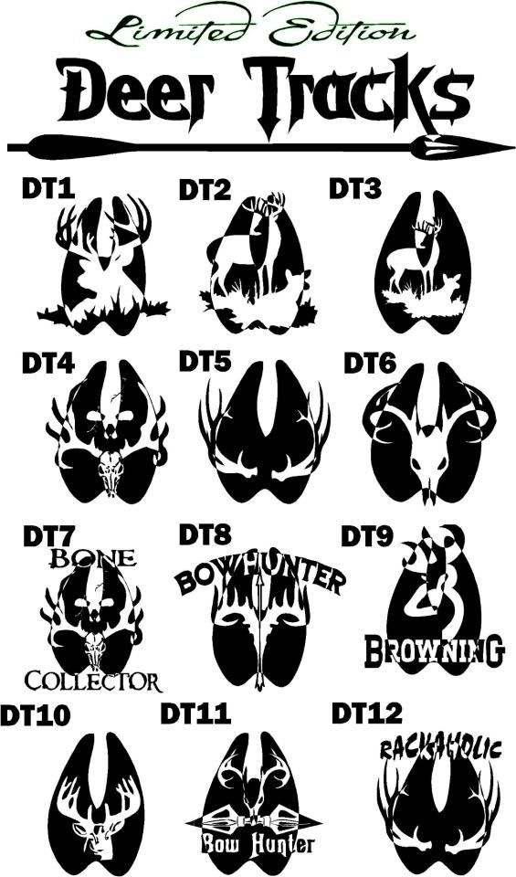 limited edition hunting deer tracks decals 8in one color 10 plus shipping aj custom graphix. Black Bedroom Furniture Sets. Home Design Ideas