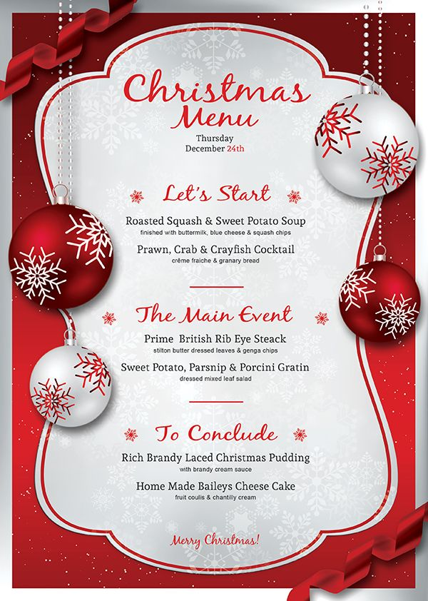Christmas Menu Card Template Free Thecannonball Org