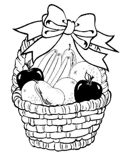 fruit baskets coloring pages | fruit basket coloring pages to print