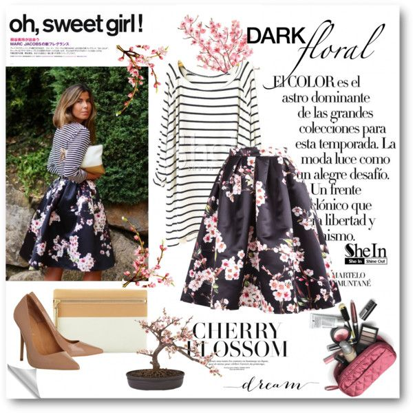 Stripe + Floral by bmaroso on Polyvore featuring Office, Elizabeth and James, Nearly Natural and Language Of Flowers