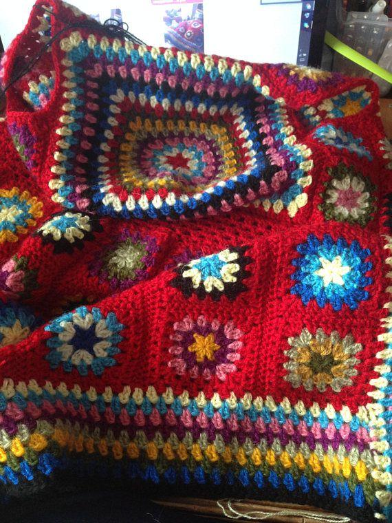 Crochet coat Jacket Granny square coat Female cardigan Scarf ...