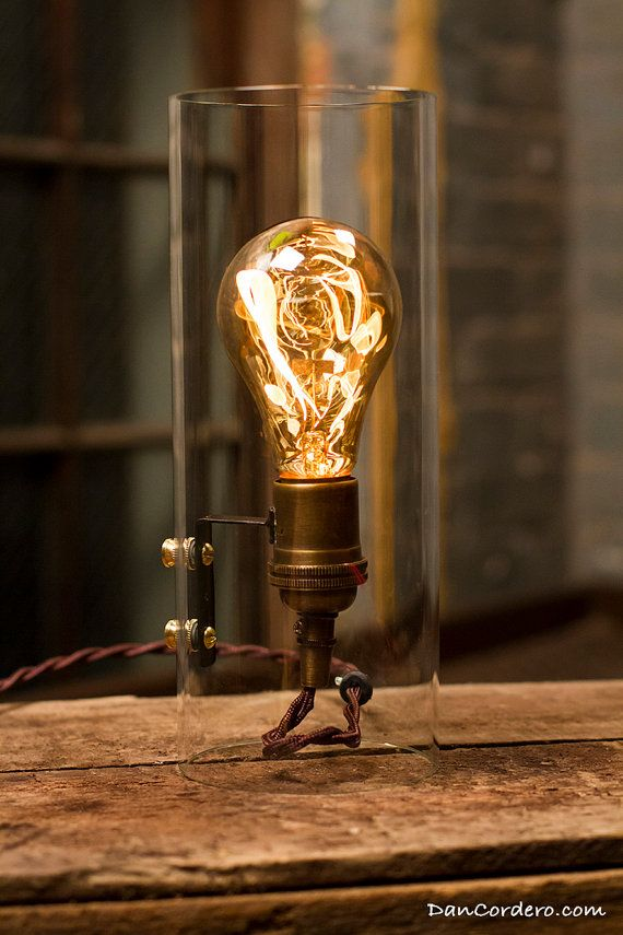 Glass Cylinder Edison Bulb Gas Flame Table Lamp By DanCordero, $125.00