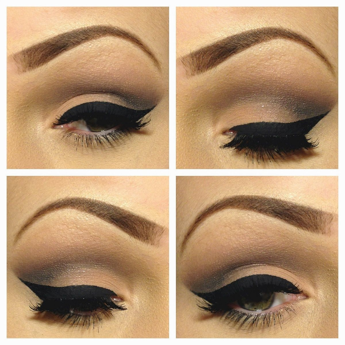 Neutral Eye Makeup With Heavy Black Cat Eye Liner Makeup And