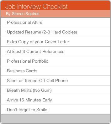 Job Interview Checklist Career Success Pinterest Job - examples of successful resumes
