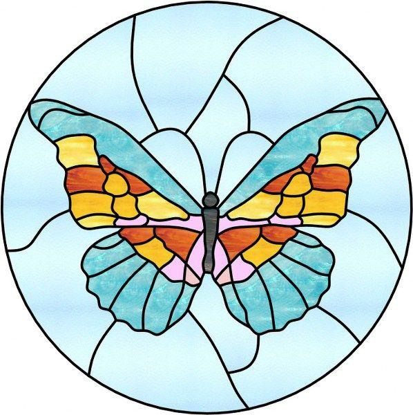 Degisik Vitray Desenleri Renkleri Kelebekler Vitray