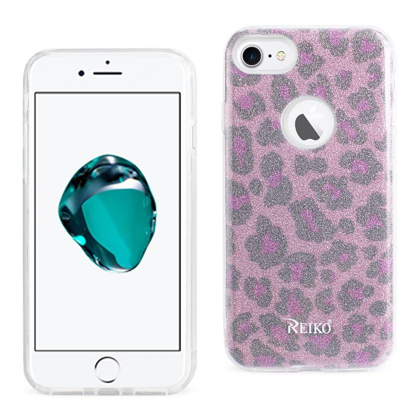 REIKO IPHONE 7 SHINE GLITTER SHIMMER LEOPARD HYBRID CASE IN PINK