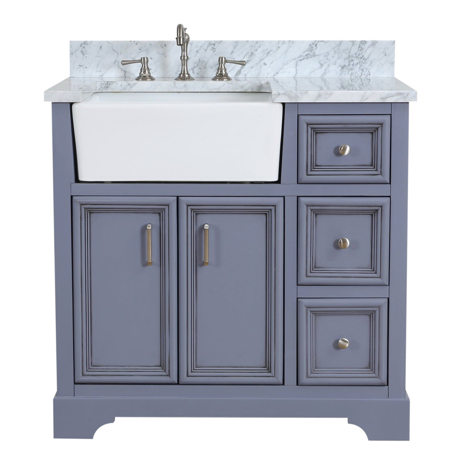 Zelda 36 Inch Farmhouse Vanity With Carrara Marble Top 2020 Ic Mekan House Renkler