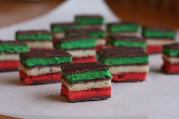 Rainbow Cookies. Awesome recipe, came out bakery quality!