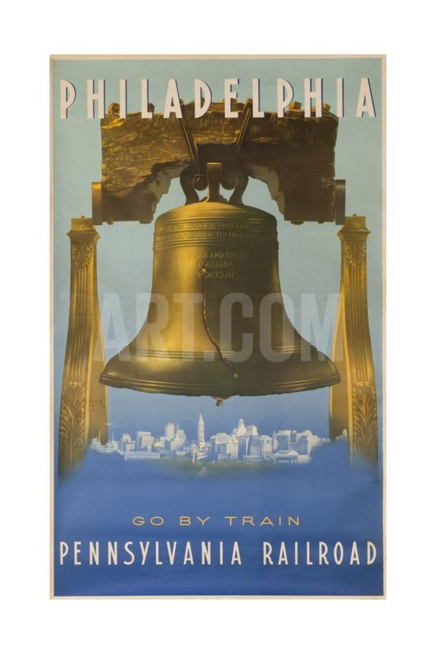 Philadelphia go by Pennsylvania Railroad Vintage Style Travel Poster 16x24