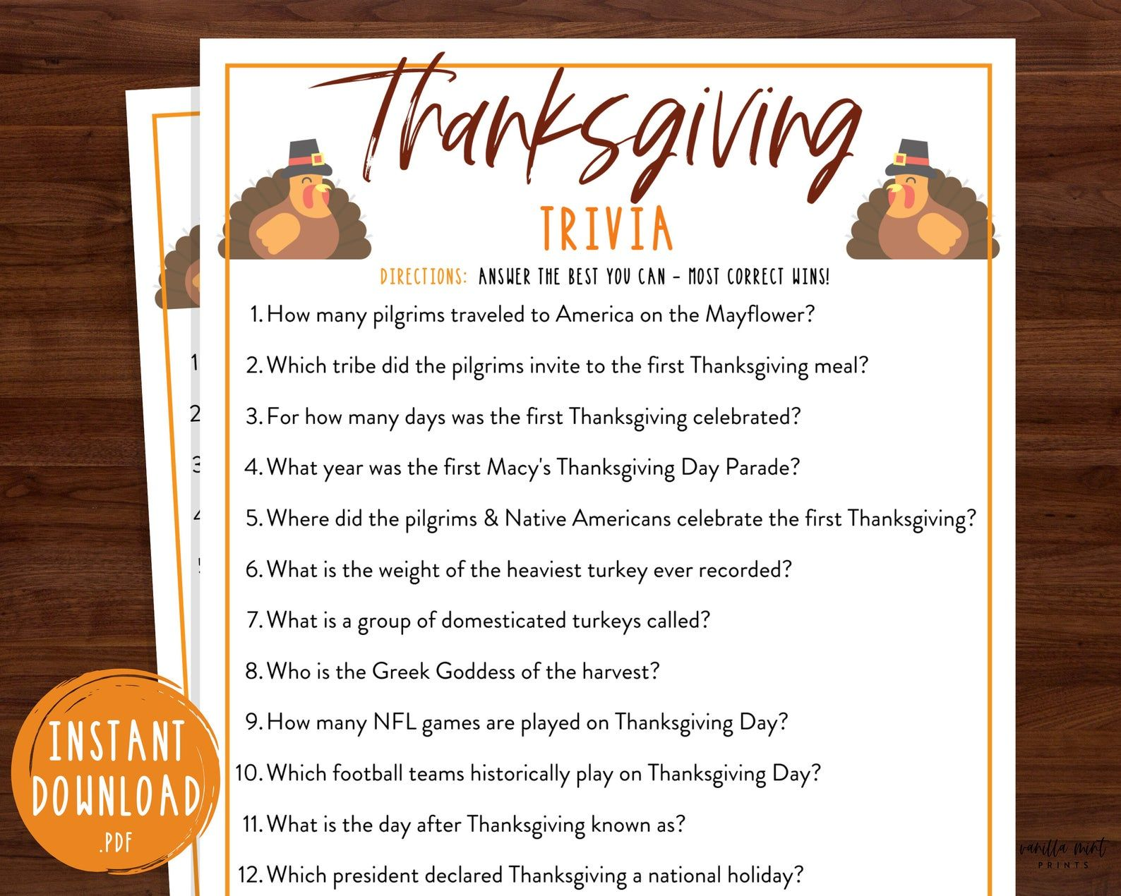 Thanksgiving Trivia Game Thanksgiving Printable Games Fun Etsy In 2020 Thanksgiving Facts Kids Thanksgiving Party Thanksgiving Fun