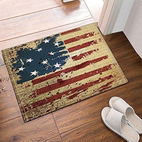 NYMB Old American USA Flag Decor Bath Rugs, Non Slip Floo.