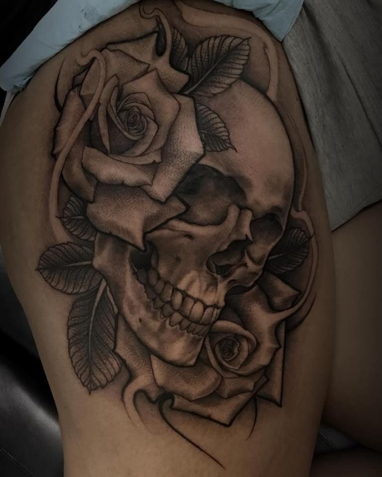 d708d902f Skull and roses tattoo by Cody | Cody - Elk Grove | Skull rose ...
