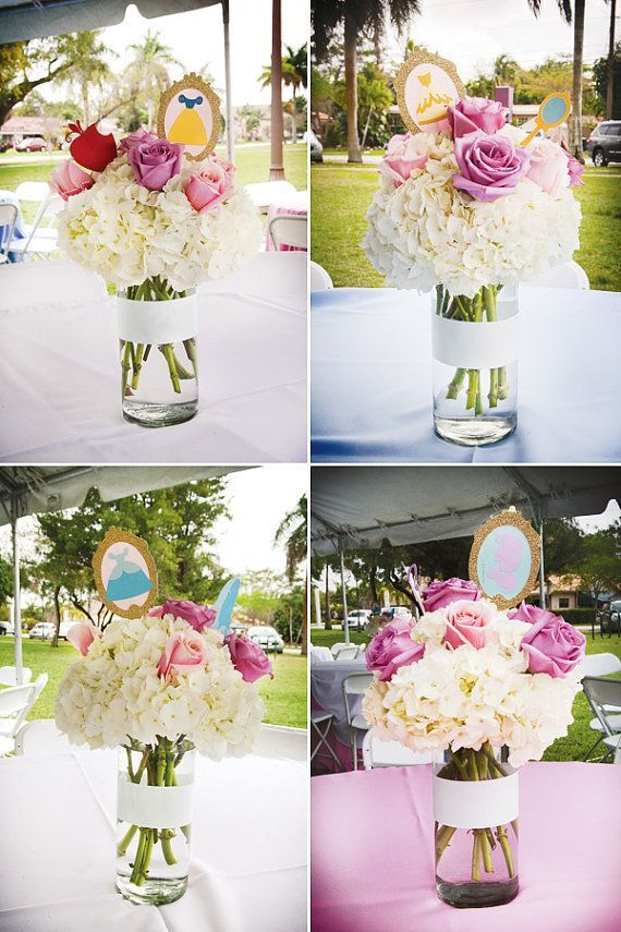 Disney Princess Centerpieces Would Be Cuter If The Rose Colors Were Relevant To Each
