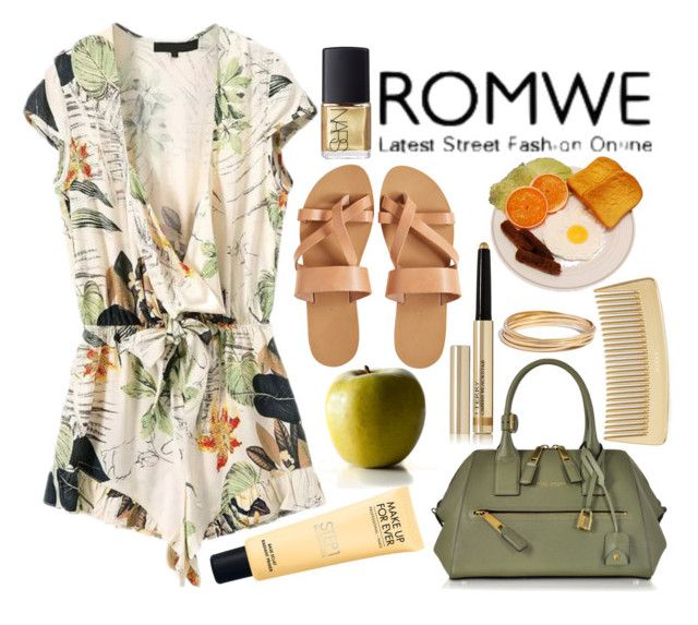 """""""ROMWE"""" by katerin4e-d ❤ liked on Polyvore featuring Marc Jacobs, KYMA, By Terry, NARS Cosmetics, AERIN, Madewell, romwe, jumpsuit, contestentry and fashionset"""