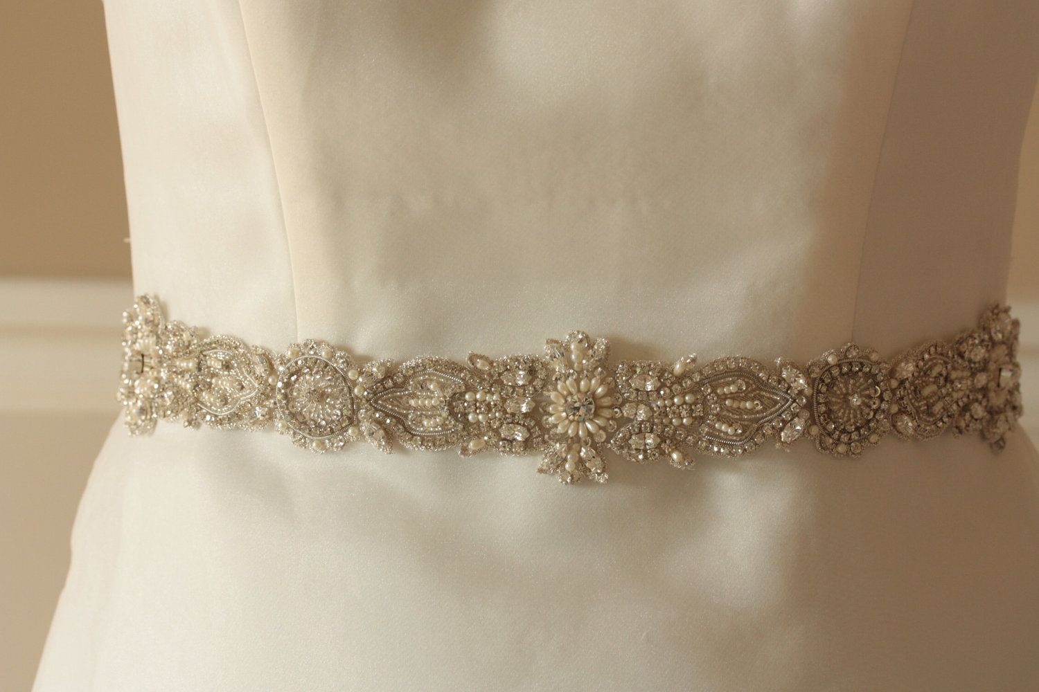 Wedding Bridal Sash Belt  -  Art Deco-2 (Sold Out can be remade). $260.00, via Etsy.