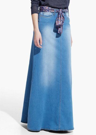 Wonderbaarlijk Lange denim rok | MANGO | Rok, Lange rok kledij, Lange rok SL-67