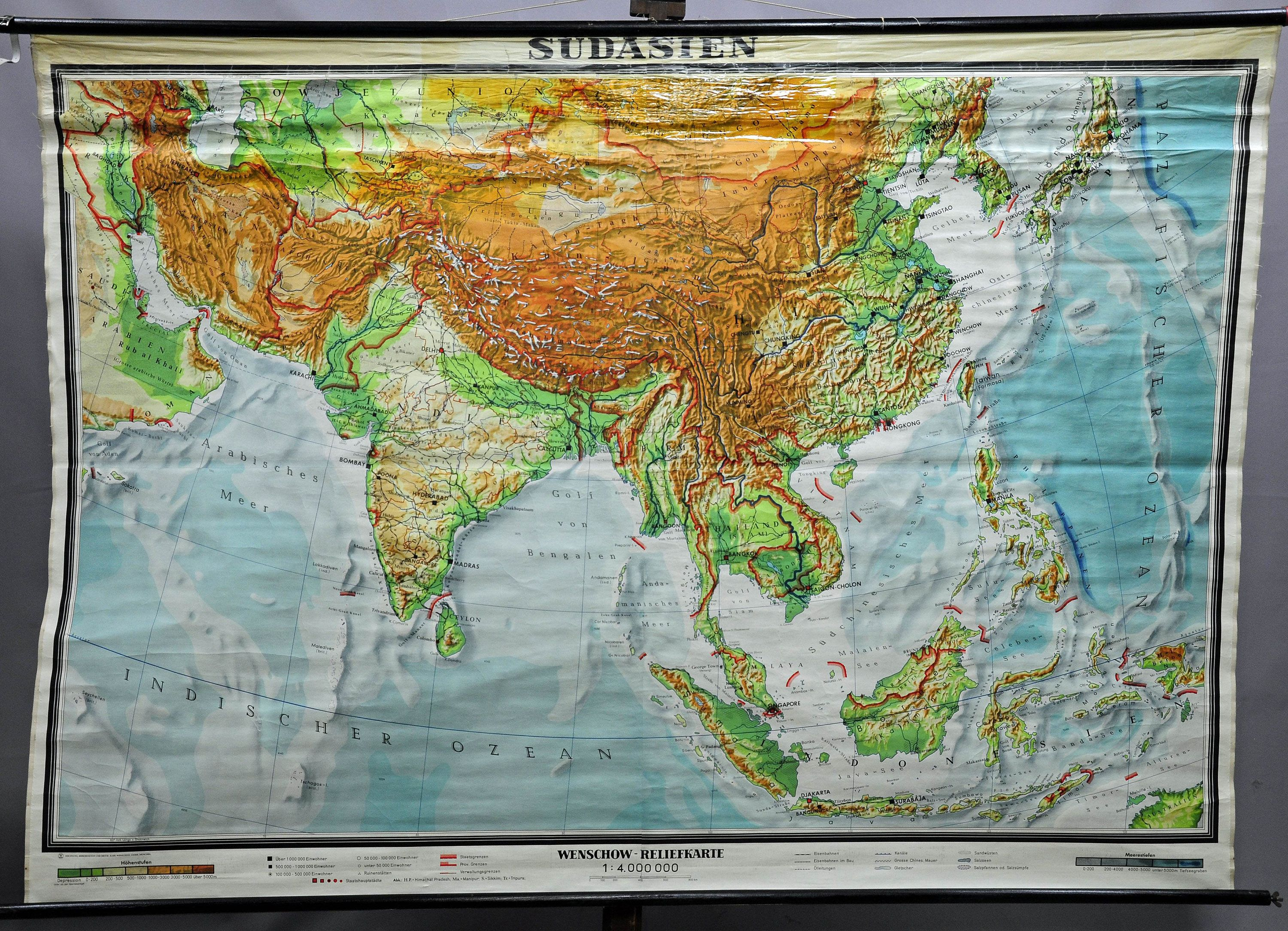 vintage rollable geographical wall chart poster map