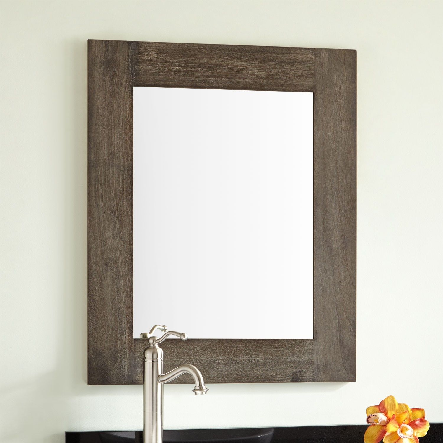 Framed Bathroom Mirrors Rustic bastian teak vanity mirror - rustic brown | brown framed mirrors