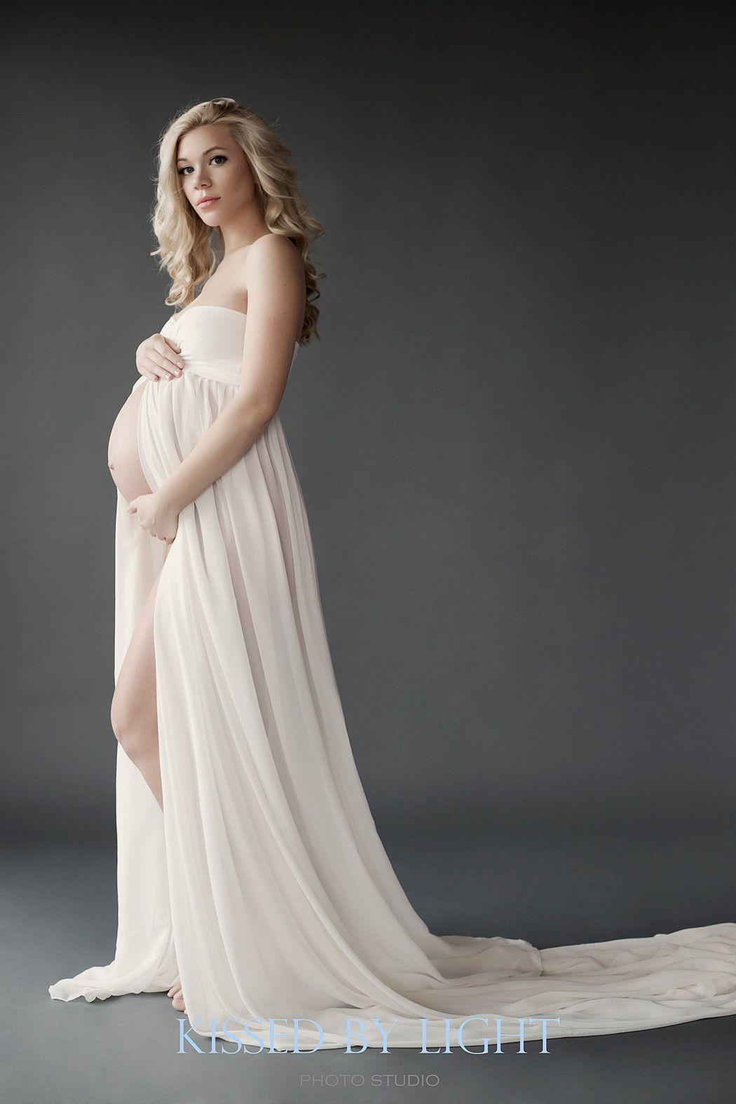 Rachel Gown • Long Flowing Gown • Sheer Chiffon Maternity ...