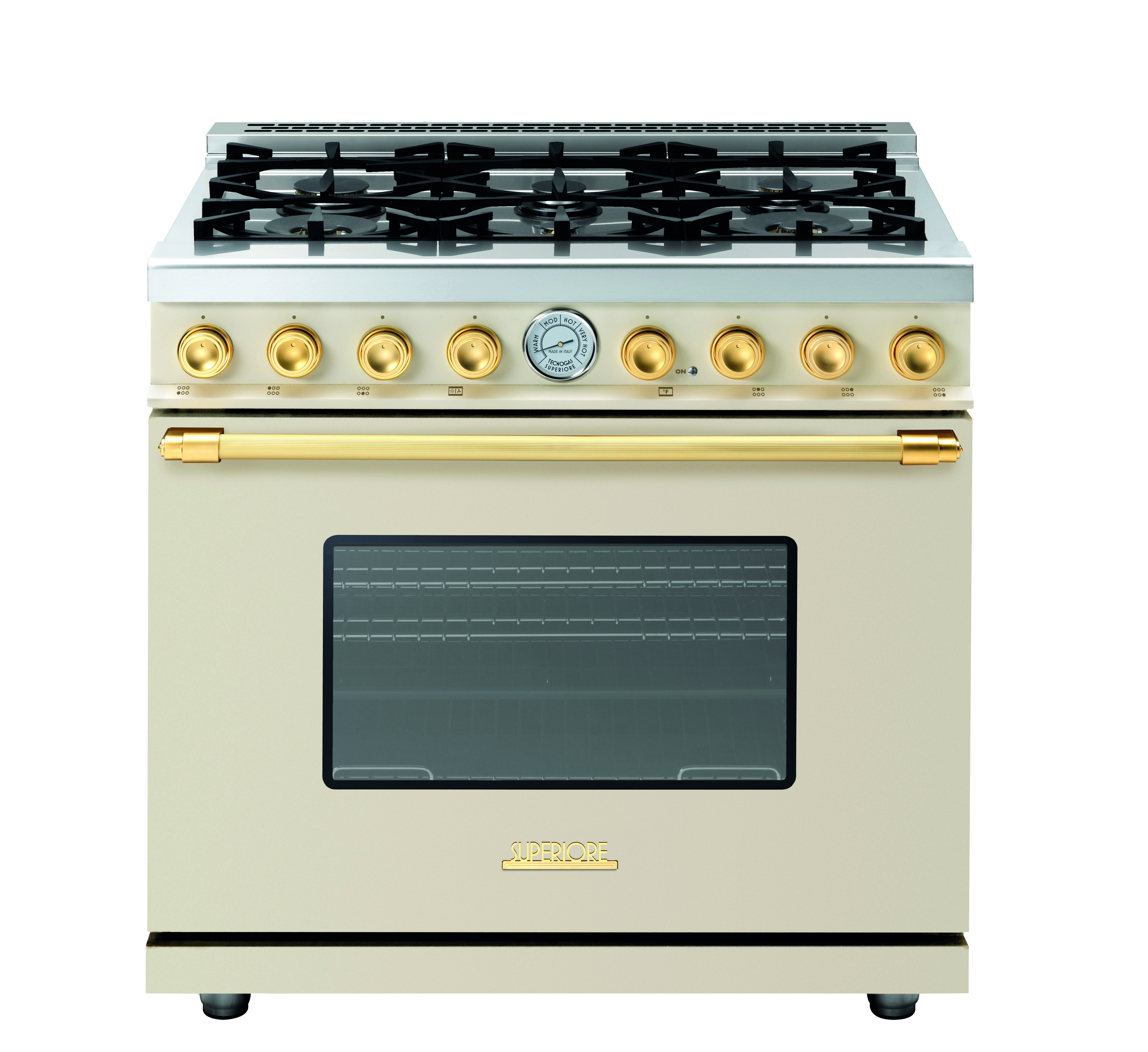 Range Deco 36 Classic Cream Matte Gold Trim 6 Gas Burners Extra Large Gas Oven Equipped With 4 Convection Fans A Elegant Kitchen Design Oven Electric Oven
