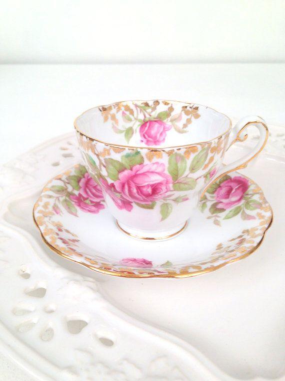 Vintage English Fine Bone China Royal Standard Festival Rose Pattern Teacup and Saucer Tea Party. £44.69 GBP