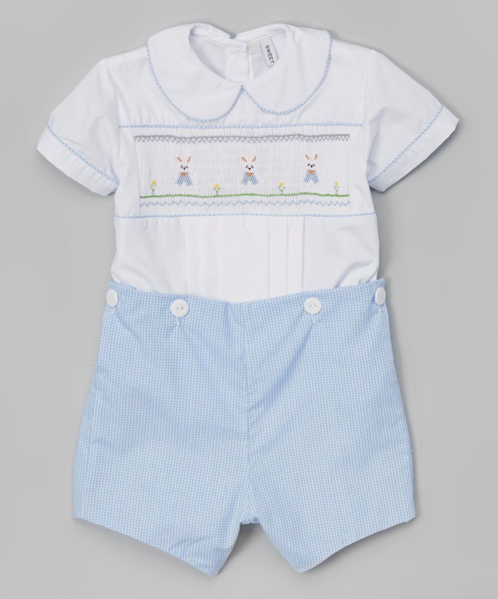 a66528df4 Sweet Dreams White   Blue Smocked Bunny Romper - Infant   Toddler ...