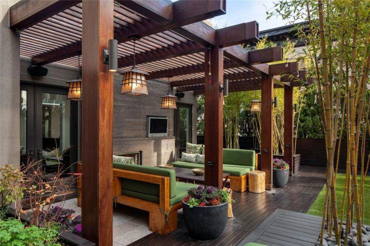 Gemeinsame Als Terrassen-Überdachung können Sie eine Pergola verwenden @ZE_63