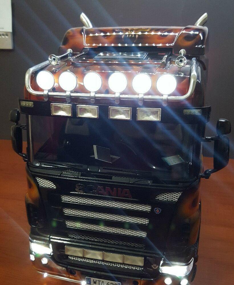Details About 1 14 Tamiya Rc Truck Scania 6x4 Light Bar Set V1 Roof Front And Side Met Afbeeldingen