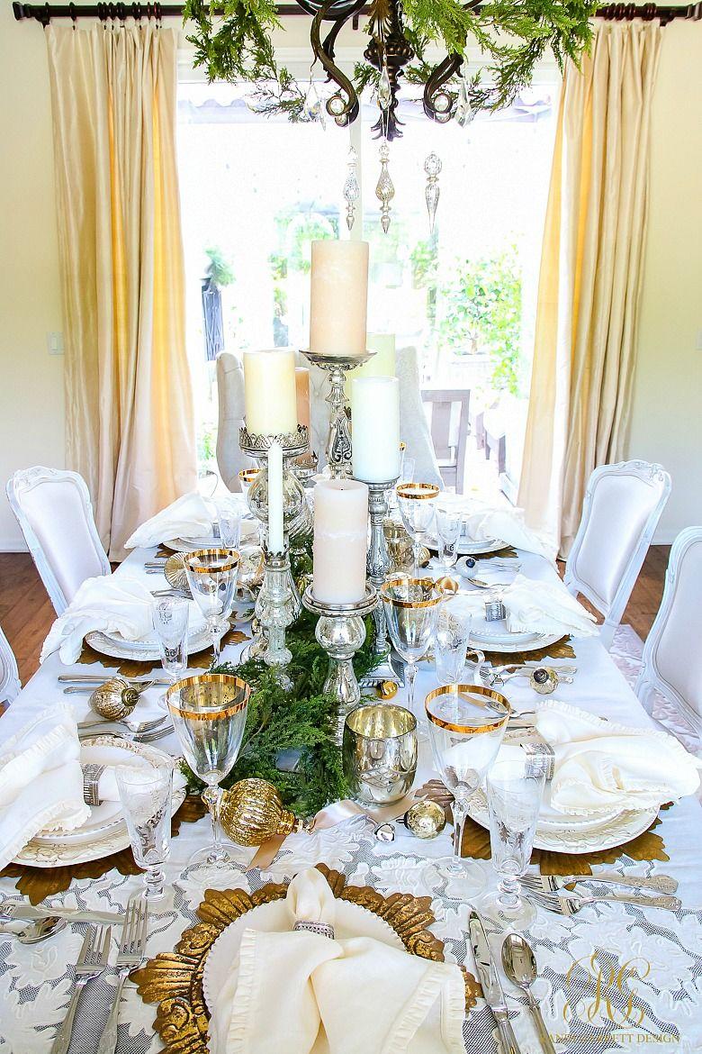Elegant White And Gold Christmas Dining Room Table Scape