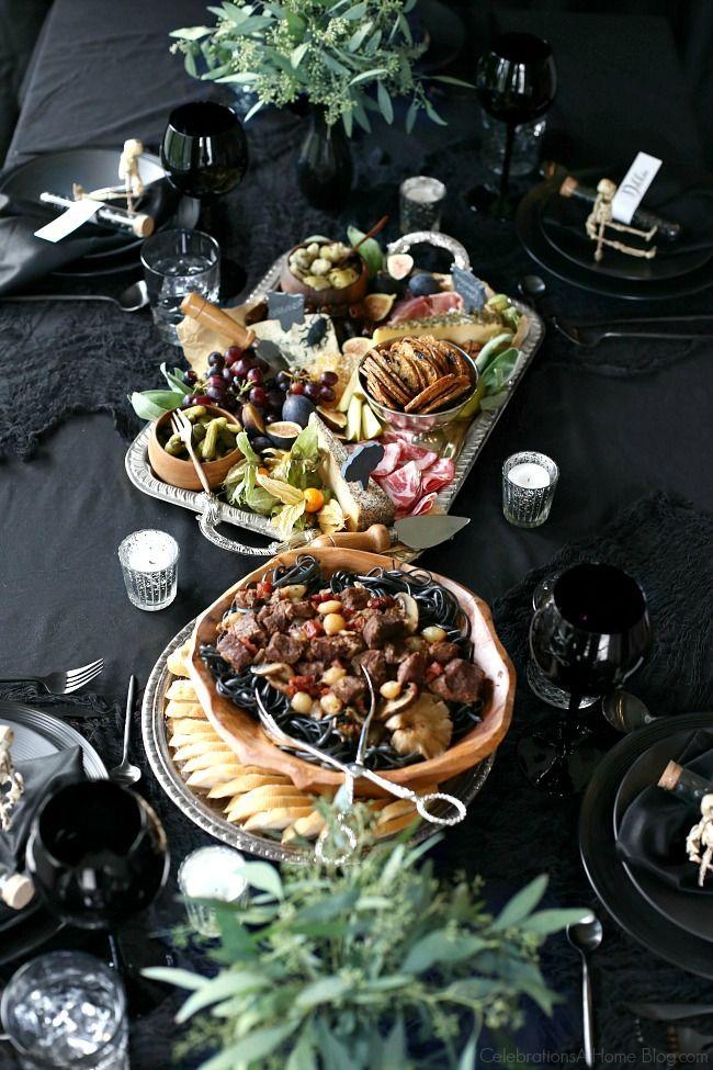 Black Halloween Dinner Party & Table Setting Ideas