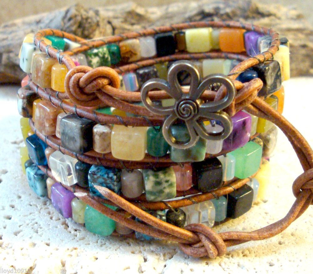 Mixed Gemstone 6x6mm Cube & 4x6mm Tubes Handmade Beaded Leather Wrap Bracelet