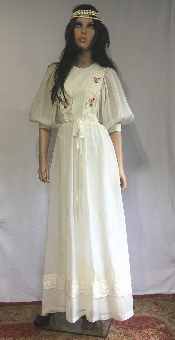 Vintage 70s White Hippie Wedding Dress - Retro 1970s Prom Dress ...