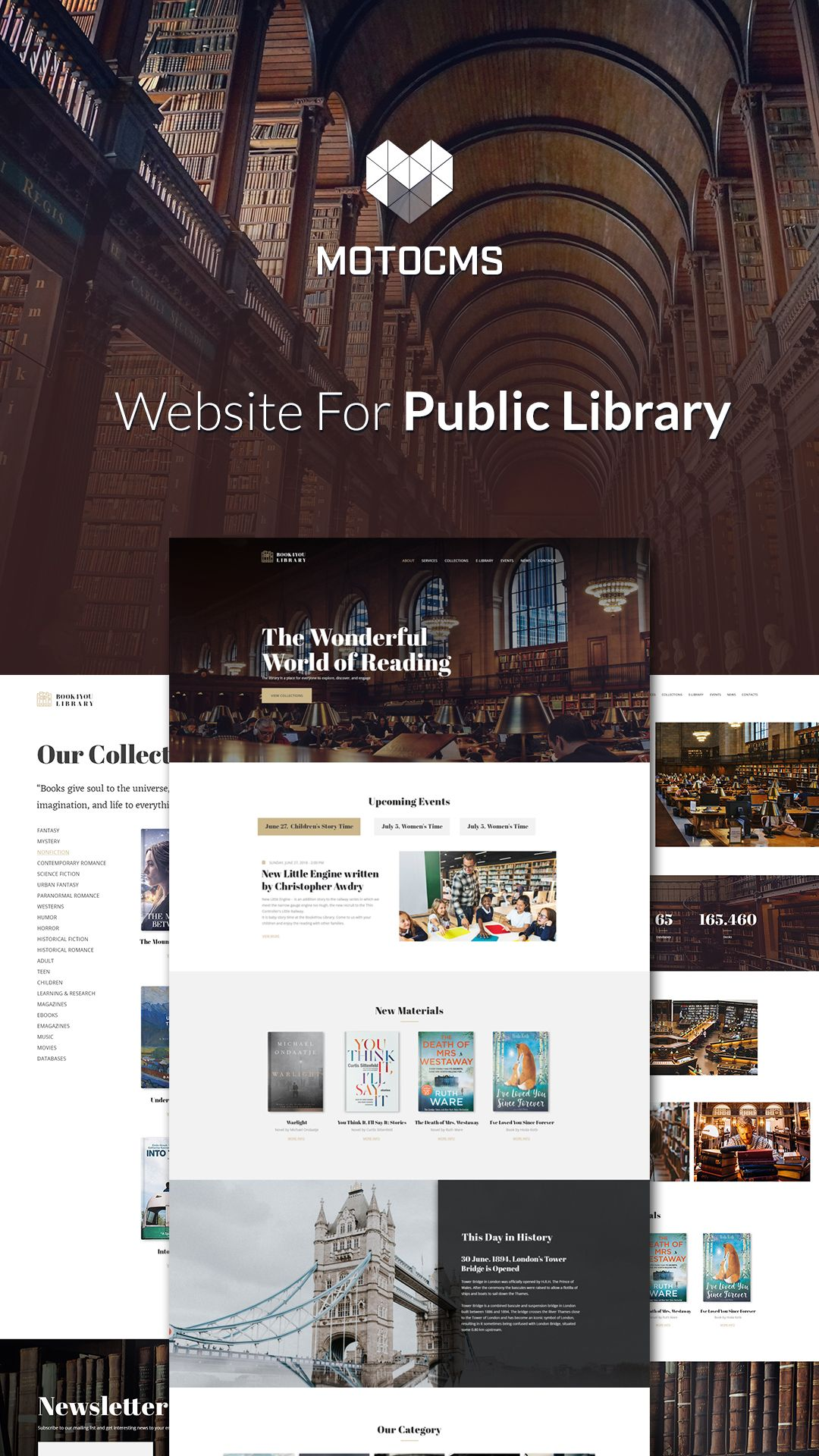 Website For Library Books Motocms 3 Responsive Template 68194 Webdesign Websites