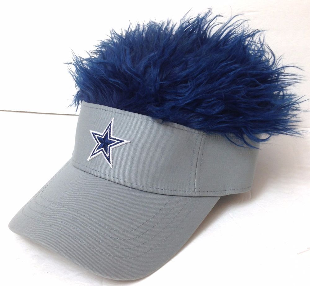 7a60c4daa19a2 New 25 DALLAS COWBOYS FLAIR HAIR VISOR Gray Blue Wig Funny Fan Hat  Men Women NWT  NFL  DallasCowboys